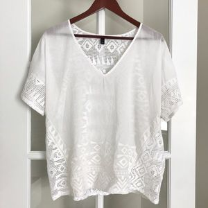 BANANA REPUBLIC Sheer Knit Blouse Large White
